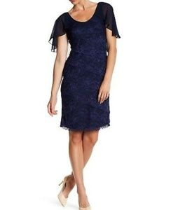 MARINA   Tiered Lace Capelet Dress NEW